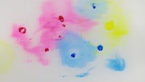 美丽的五颜六色的墨水在水,墨水下落中 落蓝色,红色,黄色墨水在水中有白色背景 向量例证