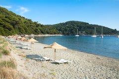 美丽的亚得里亚海的海岛沙子海滩 免版税库存照片