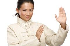 美丽的亚裔妇女做kung fu姿态 库存照片
