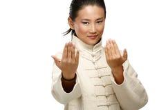 美丽的亚裔妇女做kung fu姿态 免版税库存图片