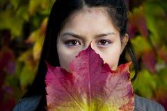 美丽的亚裔妇女在秋天 免版税库存照片
