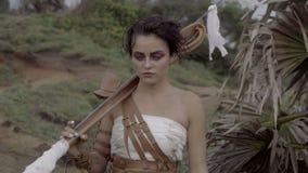 美丽的亚马逊妇女战士 影视素材