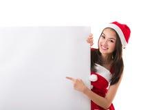 美丽的亚洲女服圣诞老人服装 免版税库存图片