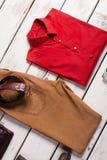 美丽的人的衬衣和裤子 免版税图库摄影
