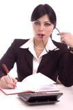 美丽的企业服务台她的纵向妇女 免版税库存照片