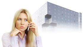美丽的企业电话纵向妇女 免版税库存照片