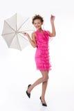 美丽的伞妇女年轻人 免版税图库摄影