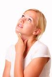 美丽的体贴的白肤金发的妇女 库存图片