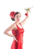 美丽的佛拉明柯舞曲女孩起来了 库存图片