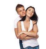 美丽的便衣夫妇年轻人 免版税库存图片