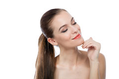 美丽的健康妇女面孔和头发 图库摄影