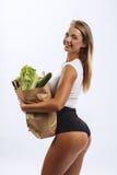 美丽的健身女孩,背景白色 库存照片