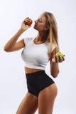 美丽的健身女孩,背景白色 免版税图库摄影