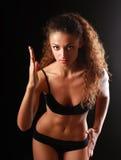 年轻美丽的健身妇女画象  免版税库存图片