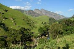 美丽的光滑的岩石和绿河谷 免版税库存图片