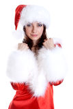 美丽的克劳斯给圣诞老人佩带的妇女&# 图库摄影