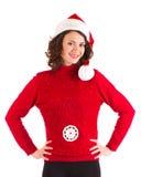 美丽的克劳斯给女孩怀孕的圣诞老人&# 图库摄影