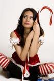 美丽的克劳斯辅助工性感的圣诞老人 免版税图库摄影