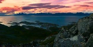 美丽的全景风景Lofoten海岛 库存图片