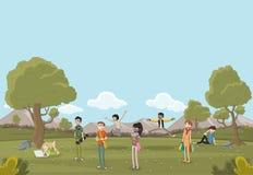 美丽的公园的动画片少年 库存例证
