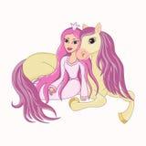 美丽的公主和她可爱的忠实的马 免版税库存图片