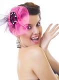 美丽的兴奋妇女 免版税库存照片