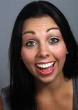 美丽的兴奋表达式脸面护理妇女 图库摄影