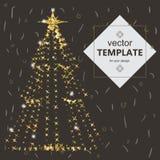 美丽的典雅的圣诞树 在黑暗的背景的传染媒介例证 库存照片