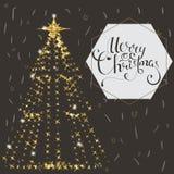美丽的典雅的圣诞树 在黑暗的背景的传染媒介例证 免版税库存照片
