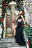 美丽的典雅的少妇画象华美的晚礼服的在圣诞节背景 库存照片