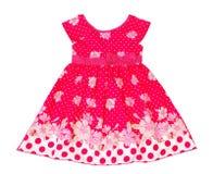 美丽的典雅的明亮的轻的女孩夏天礼服 背景查出的白色 五颜六色的花 免版税图库摄影