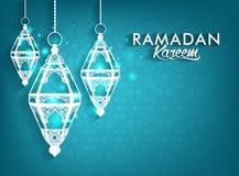 美丽的典雅的赖买丹月穆巴拉克灯笼 向量例证