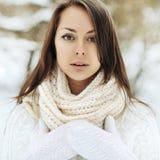 美丽的冬天女孩纵向 关闭 免版税库存照片