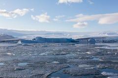 美丽的冰岛冬天季节Ice湖 免版税库存照片