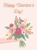 美丽的减速火箭的花卉卡片为情人节 库存照片