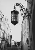 美丽的减速火箭的街灯在老镇在塔林 库存图片