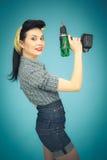 美丽的别针的图片妇女的有工具的 库存图片