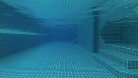 美丽的刷新的蓝色游泳池水在豪华热带旅馆里 夜黑暗视图 行动照相机 股票录像