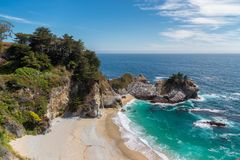 美丽的加利福尼亚海滩和秋天 库存图片