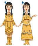 美丽的动画女孩夫妇美洲印第安人的衣裳的用不同的姿势 免版税库存照片