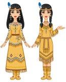 美丽的动画女孩夫妇美洲印第安人的衣裳的用不同的姿势 图库摄影
