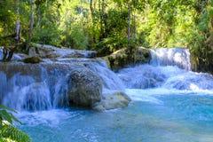 美丽的匡Si瀑布在老挝 免版税库存照片