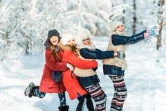 美丽的十几岁的女孩有乐趣外部在与雪的木头在冬天 友谊和活跃生活概念 免版税库存图片