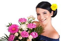美丽的卖花人妇女 库存图片