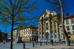 美丽的卢布尔雅那,斯洛文尼亚城镇厅  库存照片
