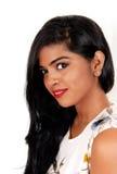 美丽的印地安妇女特写镜头  免版税库存照片