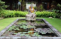 美丽的印度鱼池在巴厘岛印度尼西亚 免版税库存图片