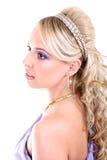 美丽的卷发长的妇女年轻人 免版税库存图片