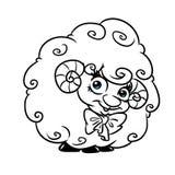 美丽的卷曲羊羔动画片着色页 向量例证