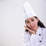 美丽的厨师微笑的画象 库存图片